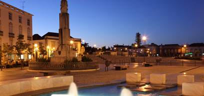 Main square in Tavira at night