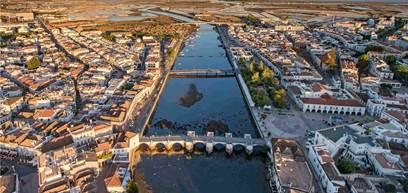 Tavira town filmed from the sky